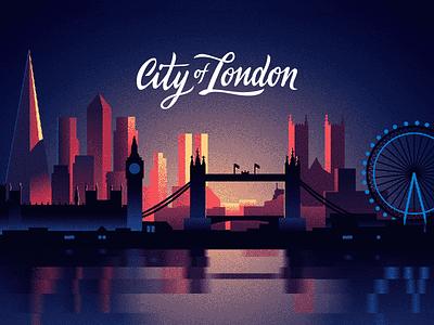 City Of London dawn dusk sunset night big ben tower bridge dithering limited colors cityscape london illustration