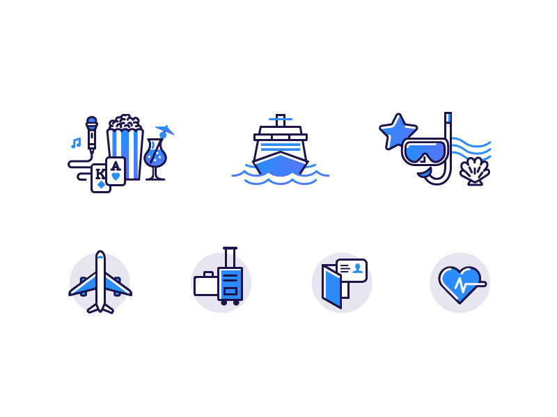 Cruise Icon Set relax vacation travel shore blue icon set icons plane ship sea cruise