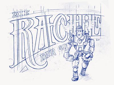 Die Rache der Giganten vintage typography steam punk steampunk sketch robot lettering illustration hand drawn book cover
