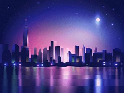 New York City Lights neons lights night cityscape city new york nyc illustrator dither vector flat illustration