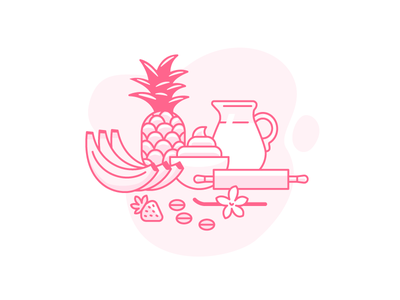 What Makes a Tasty Cake Icon bakery line art vector banana vanilla coffee milk icon illustration confectionary cake ingredients