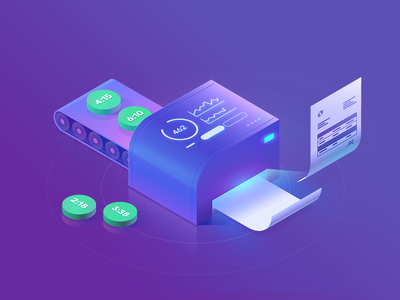 Billing and Invoicing 2.5d orthographic illustrator invoice glow color isometric icon gradient vector illustration