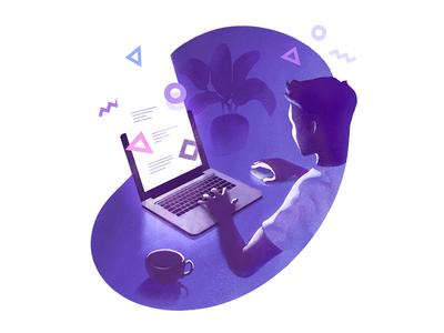 howthey.design landing michał piechota piechota laptop texture vector illustration