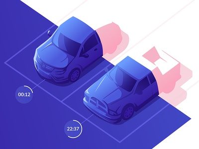 ParkingLot Hero Animation 2.5d hero animation illustration vector isometric landing landing page after effects