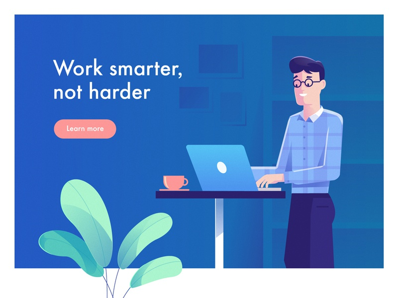 Work Smarter Not Harder office gradient landing laptop flat vector illustration