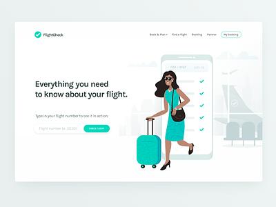 FlightCheck ✈️ white clean character travel airport airplane flight illustrator vector illustration landing page
