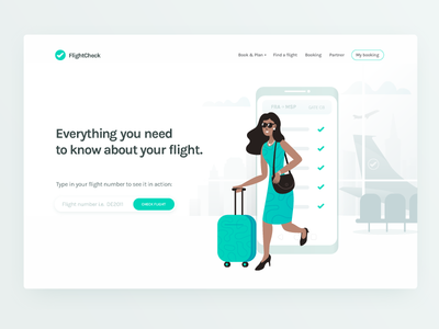 FlightCheck ✈️ white clean character travel airport airplane flight illustrator vector illustration landing page