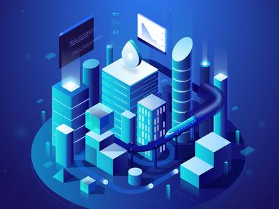 Futuristic City for DigitalOcean illustration isometric 2.5d vector illustrator city future data server futuristic neon lights