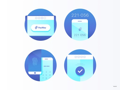 PayWay Fintech Icons phone mobile payment app fintech landing instruction onboarding design vector illustrator illustration icon