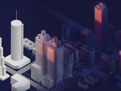 Trajectory Hero Illustration agency 2.5d skyline skyscrapers dark animation after effects animation illustration vector landing page hero design atlanta city isometric