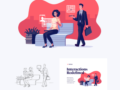Interfaces: Koral 3d mouseover mouse tilted parallax landing page landing design animation illustrator vector illustration