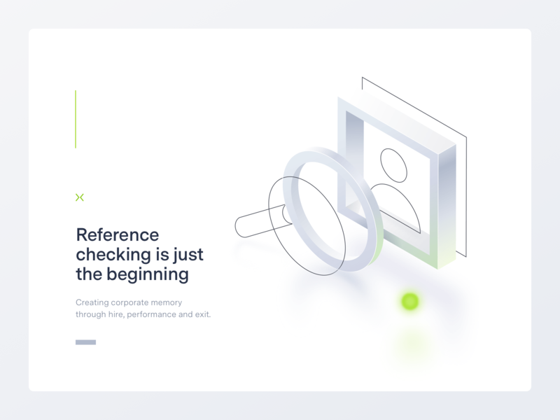 Reference Checking Illustration user magnifier hiring neon 2.5d landing design illustrator isometric vector illustration
