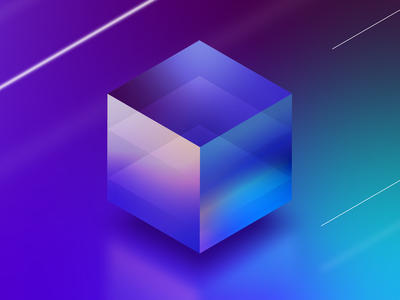 Lumicube Visual cube glowing retro branding neon 2.5d illustrator isometric vector illustration