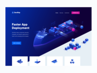 Devship Hero Illustration neon 2.5d icon landing page landing design illustrator isometric vector illustration