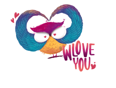 Owlove You Pun owl logo stickers children book illustration design love typography puns illustration cute character bigeyes