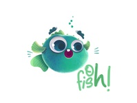 Oh FISH! Pun Project typography stickers design children book illustration puns love illustration cute character bigeyes