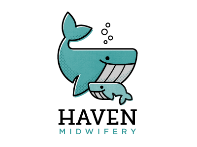 Haven Midwifery 001 midwife whale bubble logo baby mother halftone