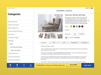 Introducing RENT for IKEA app design minimal ux ui design ipad app furniture app furniture ikea