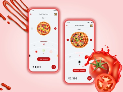Customise & Order Pizza App pizzeria pizza ecommerce ui design uidesign minimal ux app design ui illustration app design