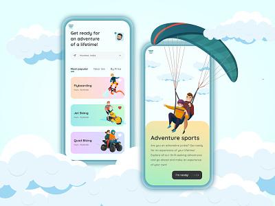 Adventure Sports app pastels typography sports adventure ui design uidesign minimal app design ux ui illustration app design