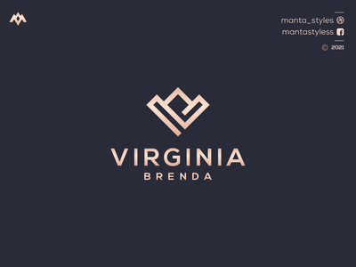 VIRGINIA BRENDA vector typography illustration app letter icon minimal logo design branding