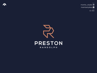 Preston Randolph logomaker vector typography illustration app letter icon minimal logo design branding