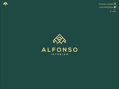Alfonso Interior brandmark logomakeronline ux ui logomaker vector typography illustration app letter icon minimal logo design branding
