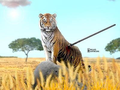 strong tiger photoshop tiger photomontage design