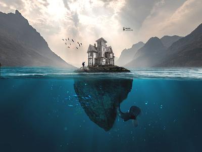 dream island island web illustration photoshop photomontage design