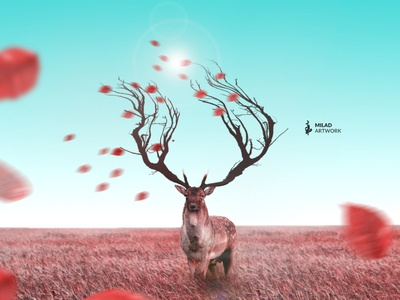 Autumn deer autumn deer photoshop fantasy illustration photomanipulation design photomontage