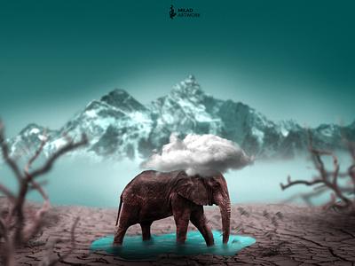 alone elephant rain illustration sad alone elephant photoshop fantasy photomanipulation design photomontage