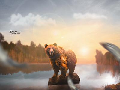 busy bear nature artwork fish bear autumn illustration fantasy photomanipulation photoshop photomontage design