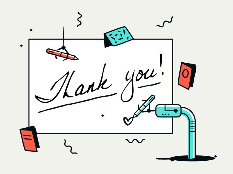 Handwrytten Thanks animation web illustrations vector colorful design branding webdesign typography illustration