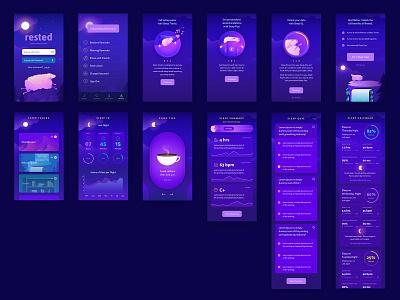 Rested App illustrator branding animation web icon ux vector ui app illustration