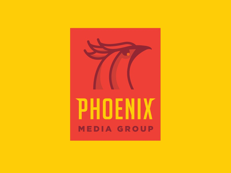 Phoenix Media Group icon flat illustration logo bold phoenix