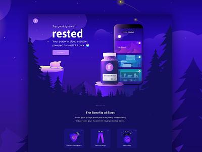 Rested Homepage colorful app ux webdesign design branding illustration