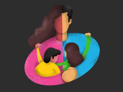 A Calm Hug from Parents love colors adobe photoshop hug children parents design calm