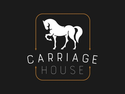 Carriage House Branding negative brown gray design illustration brand identity brand design logo design print vector lineart orange gold black house carriage horse mark branding logo