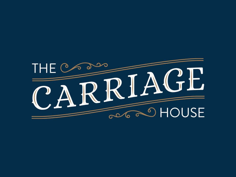 Carriage House old fashioned white filigree serif old vintage navy blue gold blue branding concept idenity brand identity branding design logo design mark logo typography vector branding design