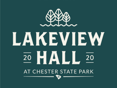 LakeviewHall Logo Dribbble Option1 tree white green state park event venue venue nature park typography typeface type brand identity branding design branding print logos logomark logo design logotype