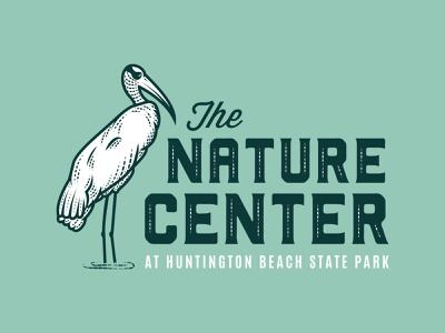 Huntington Beach State Park Logo identity natural branding nature logo beach park line art south carolina woodstork stork bird center nature clean design flat illustration logo print flat illustration