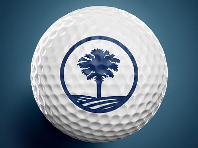 South Carolina Golf Logo Marks mark line art line single color 1 color palmetto blue and white navy blue branding design logo design branding golf ball golf club golf south carolina