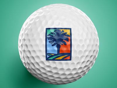 South Carolina Golf Event - Logo Mark golf ball palmetto tree icon lineart line 1 color colors circle badge tree golf mark golf logo golf event white navy blue
