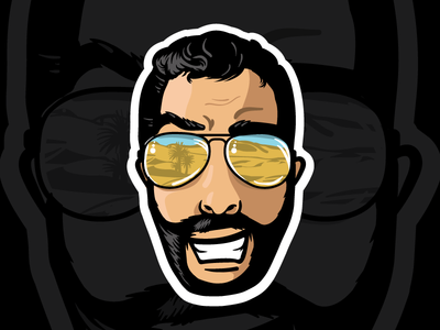 Twitch Emote Illustration - HaZeDProPH3t sunglasses hair beard logo streaming digital design mascot emote illustration twitch