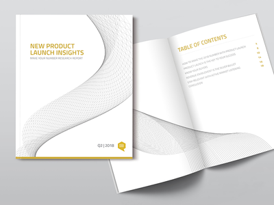 Print Research Report - Product Launch white yellow clean fresh geometric report business corporate magazine book print