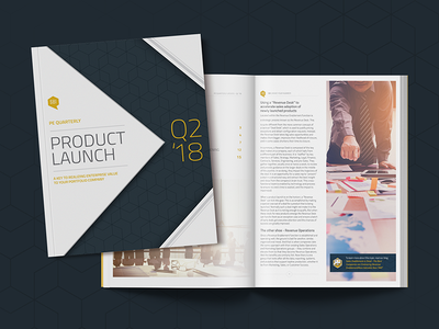 Print PE Quarterly Report - Product Launch Q2 '18 geometic clean fresh blue report business corporate magazine book print