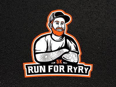 5k Run For RyRy - Logo and Shirt Design shirt road orange red tattoo tattoos hat man redhead beard running run illustration emote esports logo 5k
