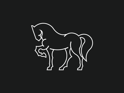 Horse icon line art lineart line professional luxury modern clean minimalistic minimal white black mark logo mark branding identity logo horse