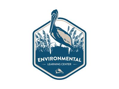 Environmental Learning Center Logo vector typography shell pelican park nature logo illustration design branding design branding blue bird badge