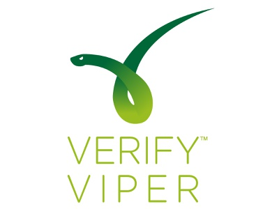 Viper as checkmark verification serpent identity logo snake coiled